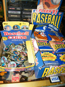 Sports trading cards at the Flea Market at the Crossing, Plainville, CT 06062